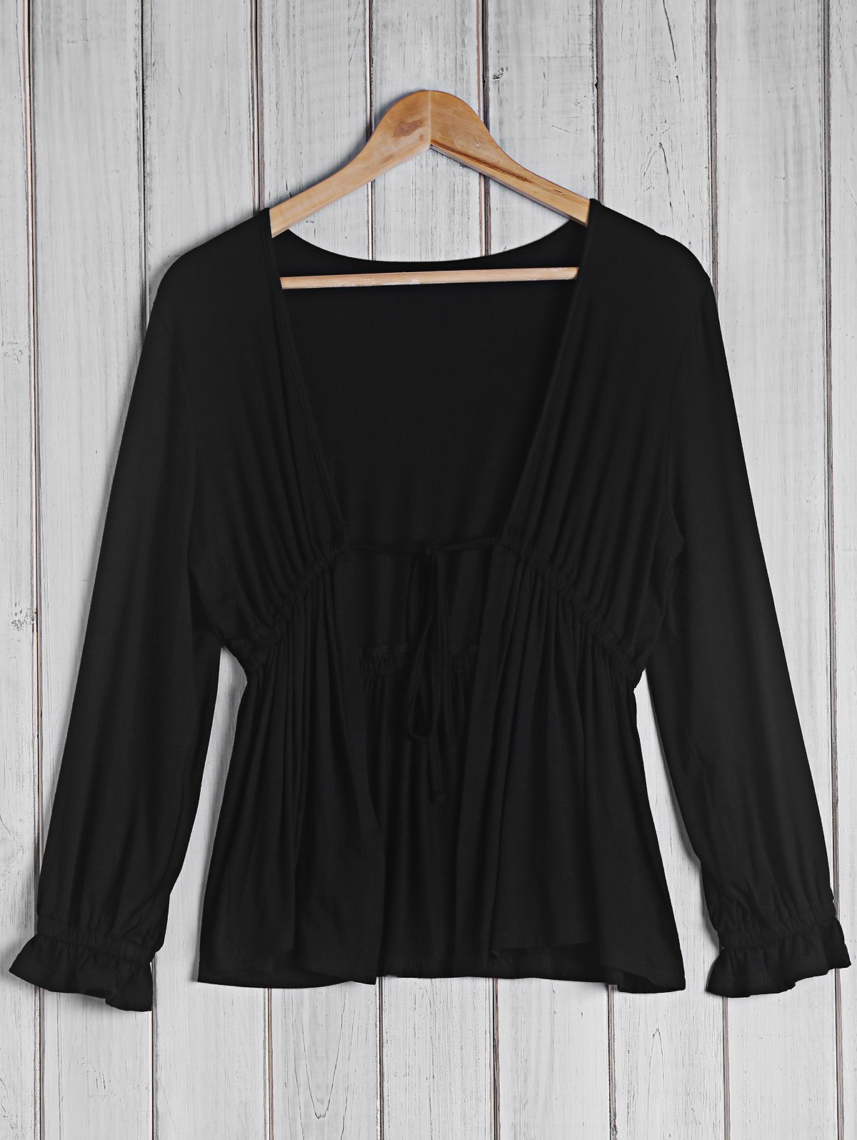 Trendy Women's Plunging Neck 3/4 Sleeve Black Blouse For Women - BLACK L
