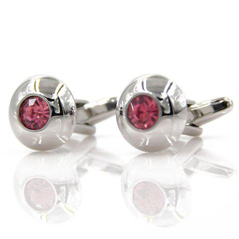 Pair of Stylish Men's Red Faux Crystal Inlay Round Shape Cufflinks - SILVER
