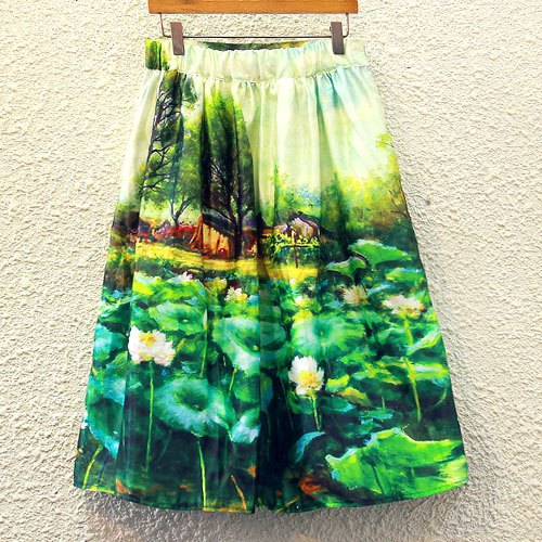 Elegant Women's High Rise A-Line Print Skirt - GREEN ONE SIZE(FIT SIZE XS TO M)