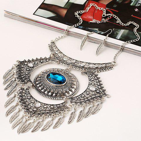 A Suit of Fake Gem Rhinestone Leaf Fringed Necklace and Earrings - SILVER/BLUE