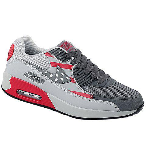 Trendy Star Pattern and Splicing Design Men's Athletic Shoes - GRAY/RED 39
