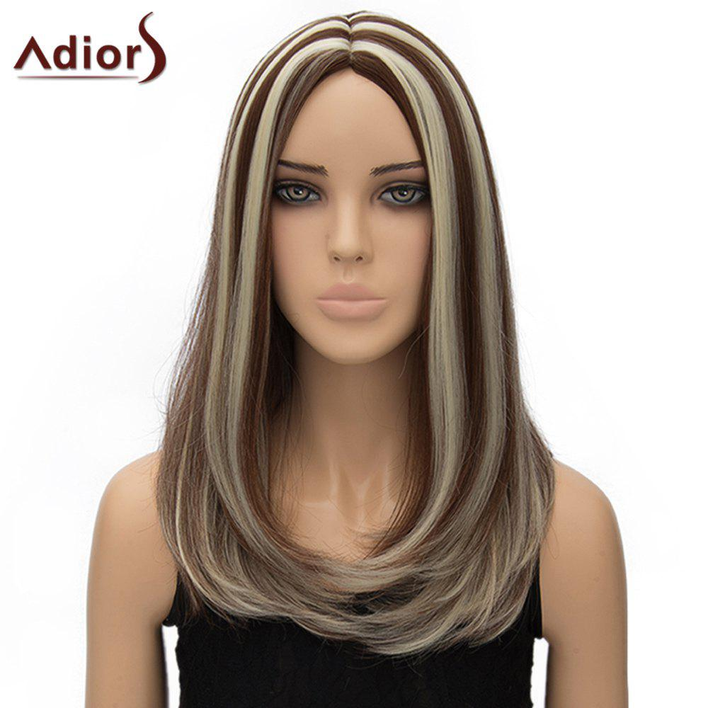 Vogue Long Brown Mixed Off-White Synthetic Straight Tail Adduction Middle Part Adiors Wig For Women - COLORMIX