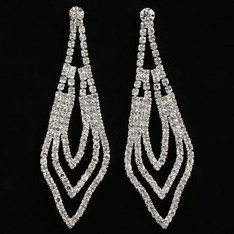Rhinestoned Hollowed Geometric Drop Earrings - SILVER