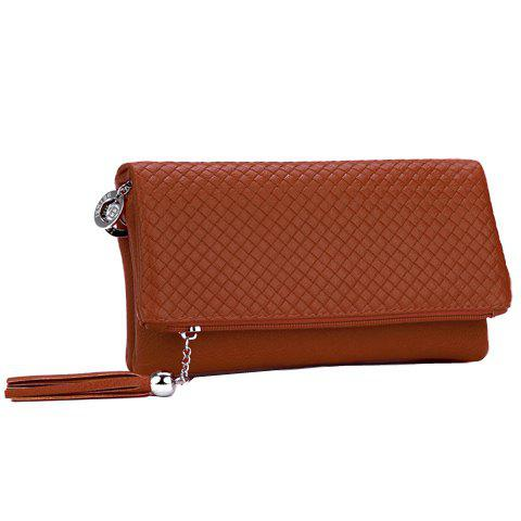 Concise Check and Tassels Design Women's Clutch Bag - LIGHT BROWN