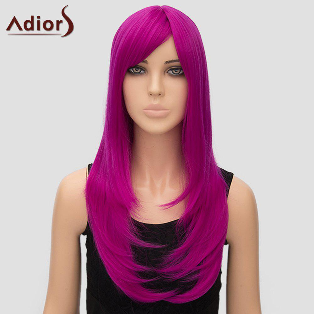 Attractive Long Rose Synthetic Straight Tail Adduction Side Bang Women's Adiors Wig - ROSE