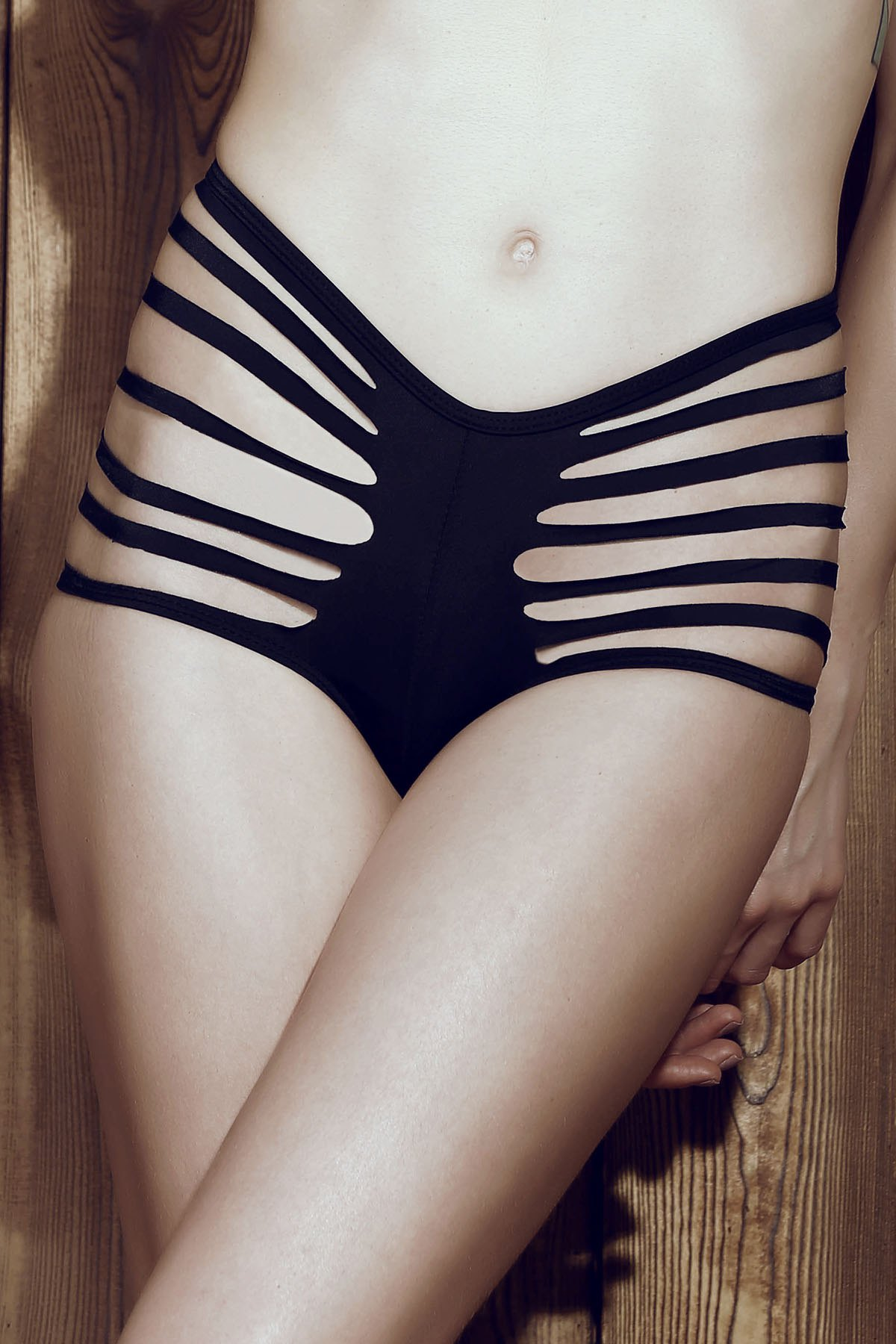 Sexy Mid-Waisted Cut Out Solid Color Women's Briefs