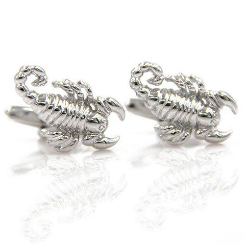 Pair of Stylish Men's Silver Scorpion Shape Cufflinks - SILVER