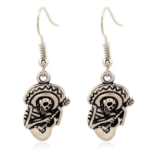 Pair of Skeleton Playing The Guitar Earrings - SILVER