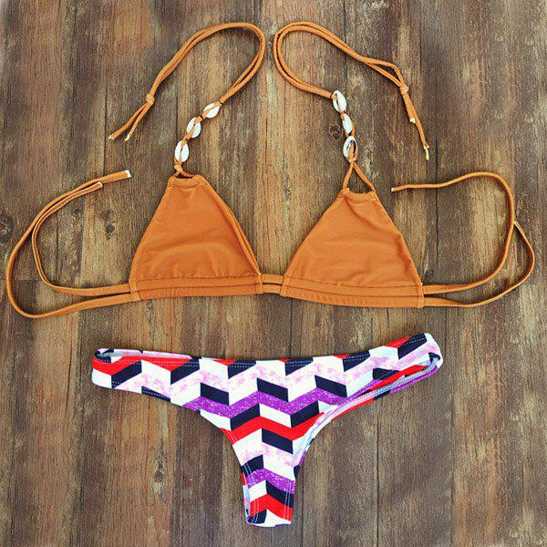 Stylish Checked Shell Embellished Halter Neck Women's Bikini Set - ORANGE S