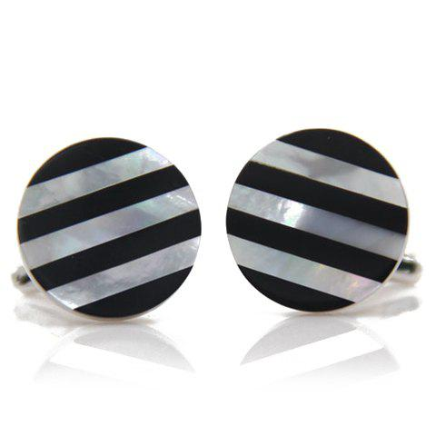 Pair of Stylish Men's Stripe Pattern Round Shape Cufflinks - BLACK
