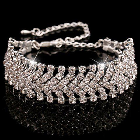 Rhinestoned Alloy Hollow Out Bracelet - SILVER