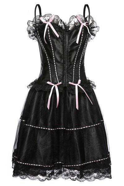 Chic Spaghetti Strap Bowknot Embellished Lace Spliced Women's Corset - PINK 3XL