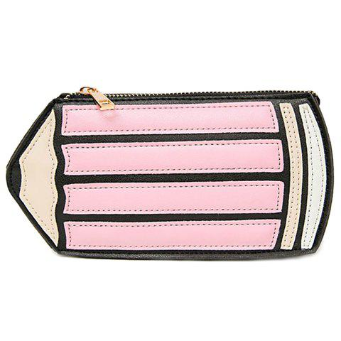 Cute Pencil Shape and PU Leather Design Women's Crossbody Bag - PINK