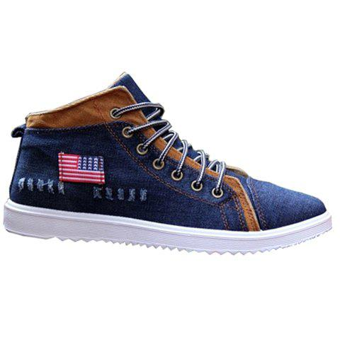 Fashionable Denim and Lace-Up Design Men's Casual Shoes - DEEP BLUE 43