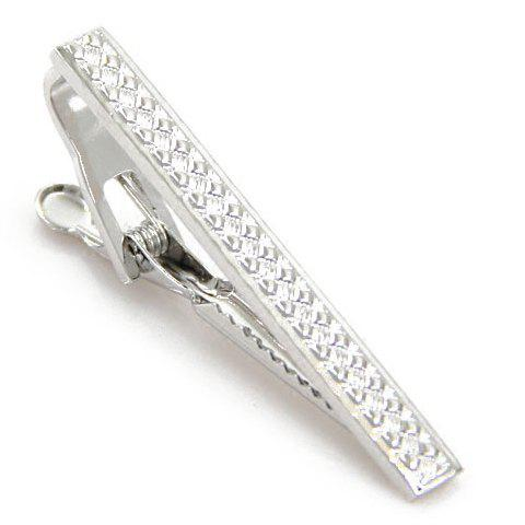 Stylish Men's Cameo Silver Tie Clip - SILVER WHITE