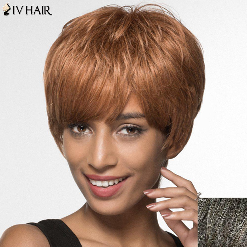 Women's Shaggy Siv Hair Side Bang Short Human Hair Wig - DARKEST BROWN/GRAY