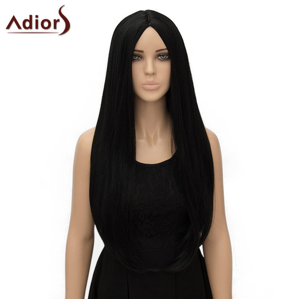 Fashion Long Straight Tail Adduction Middle Part Synthetic Universal Women's Adiors Cosplay Wig - BLACK
