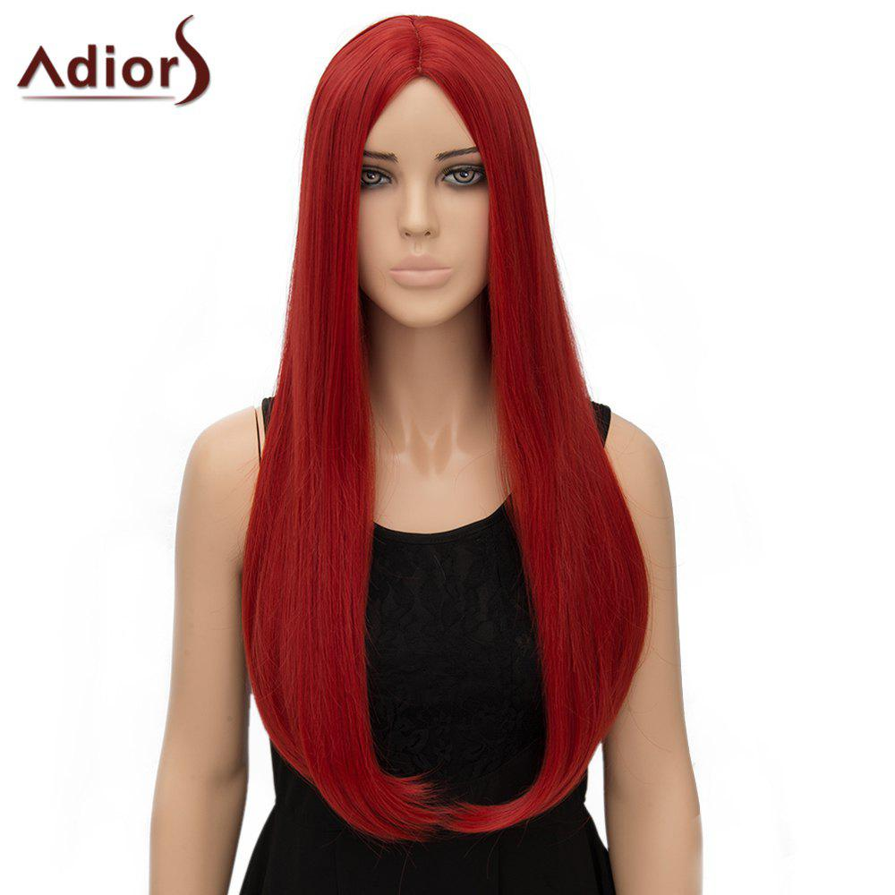Fashion Long Straight Tail Adduction Middle Part Synthetic Universal Women's Adiors Cosplay Wig - RED