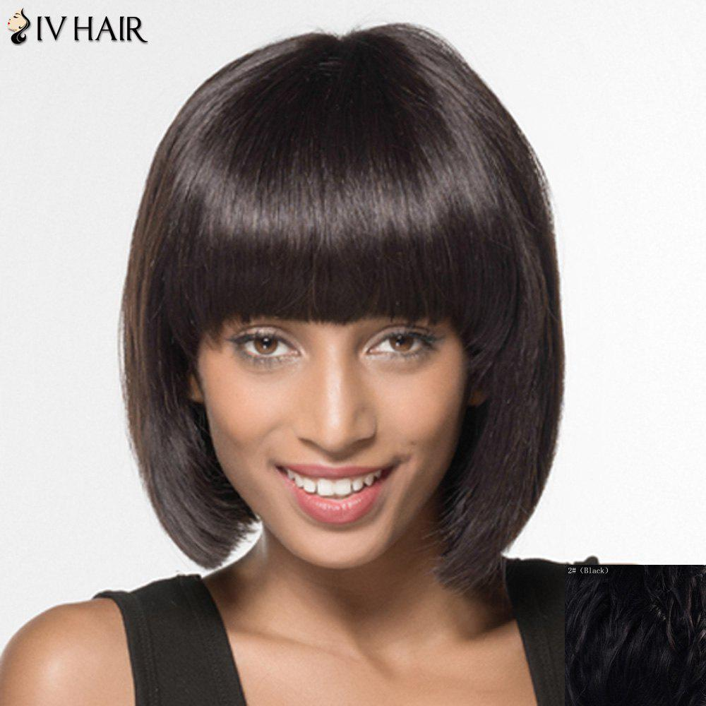Trendy Siv Hair Full Bang Bobo Style Human Hair Women's Wig - BLACK