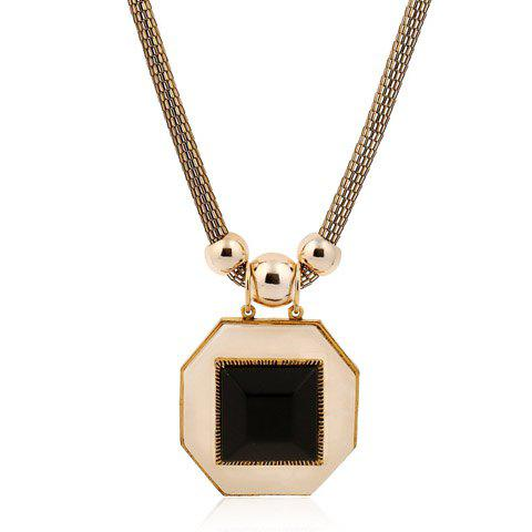 Gorgeous Rectangle Faux Gem Polygon Bead Necklace For Women
