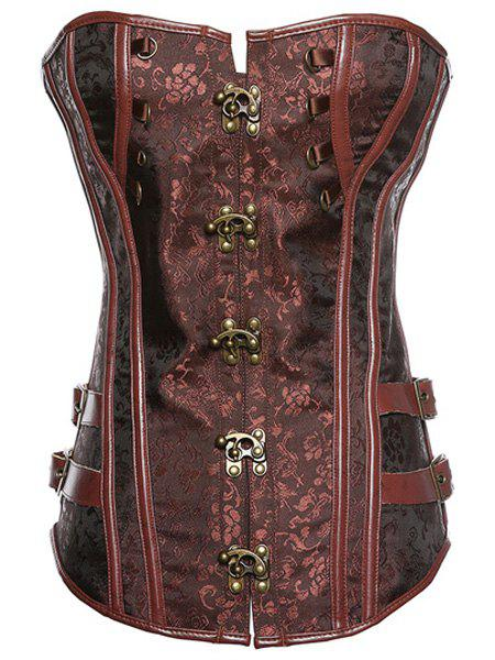 Trendy Strapless Lace-Up Spliced Button Design Women's Corset - BROWN 4XL