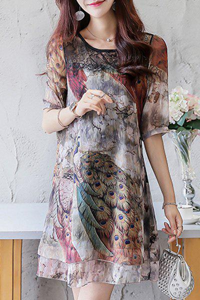 Mini Lace Panel Chiffon Print Dress - COLORMIX S