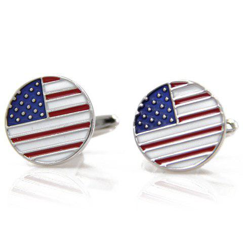 Pair of Stylish Men's Small Dot and Stripe Cameo Round Shape Cufflinks - RED