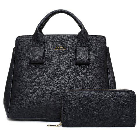 Simple Embossing and Solid Color Design Women's Tote Bag - BLACK
