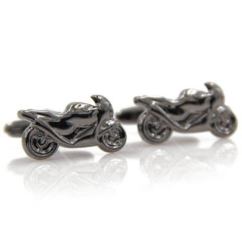 Pair of Stylish Men's Black Scrambling Motorcycle Shape Cufflinks