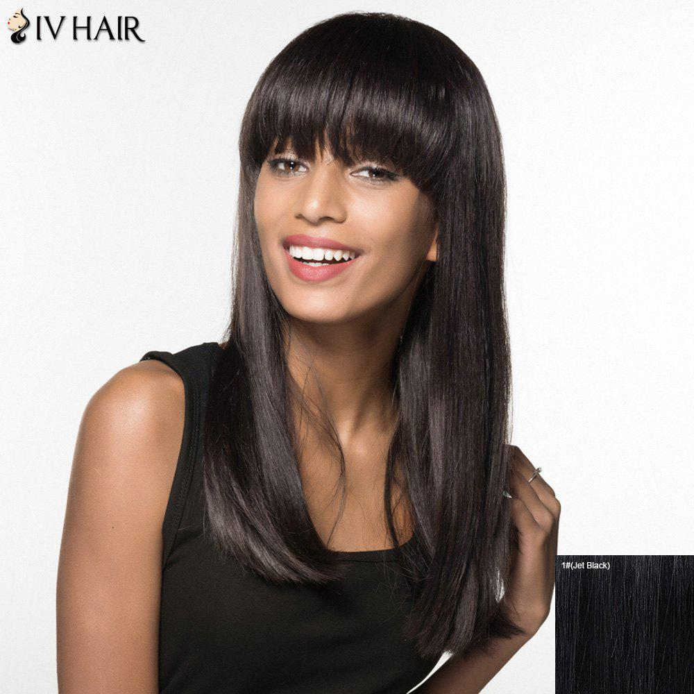 Trendy Siv Hair Full Bang Long Natural Straight Human Hair Womens WigHair<br><br><br>Color: JET BLACK