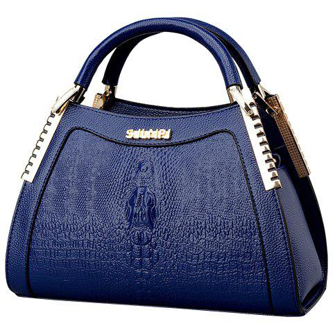 Elegant Crocodile Print and Metal Design Women's Tote Bag - BLUE
