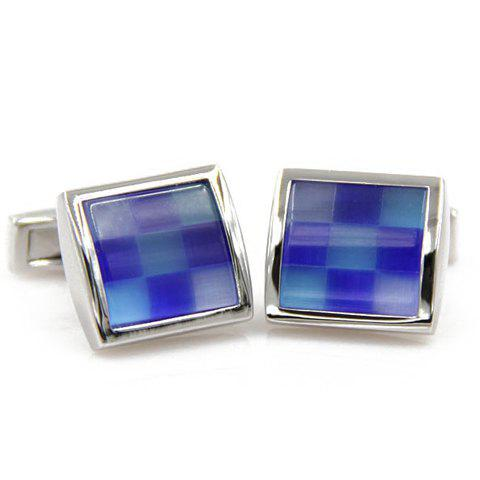 Pair of Stylish Mens Checkered Pattern Square Shape CufflinksAccessories<br><br><br>Color: BLUE