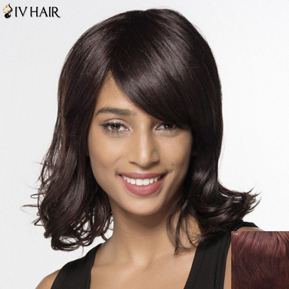 Women's Trendy Siv Hair Curly Inclined Bang Human Hair Wig