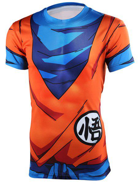 New Style Tight Round Neck Short Sleeves Men's Dragon Balls 3D T-Shirt - COLORMIX M