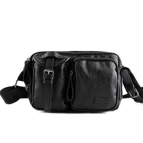 Stylish Buckle and Black Color Design Men's Messenger Bag - BLACK
