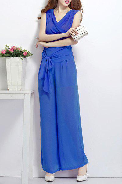 Chic V Neck Sleeveless Tank Top + Wide Leg Culotte Pants Twinset For Women - BLUE S