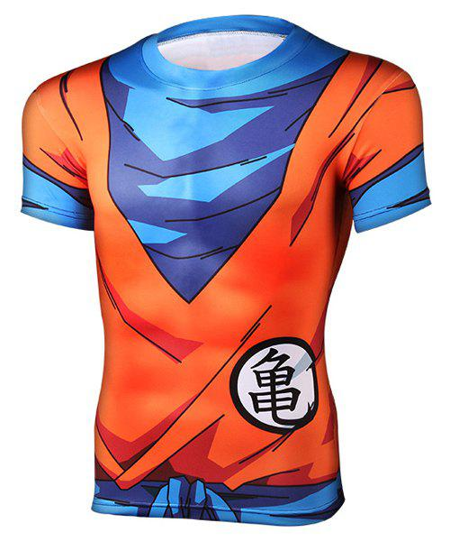 Close-Fitting Round Neck Short Sleeves Dragon Ball Men's 3D Printed T-Shirt - COLORMIX L