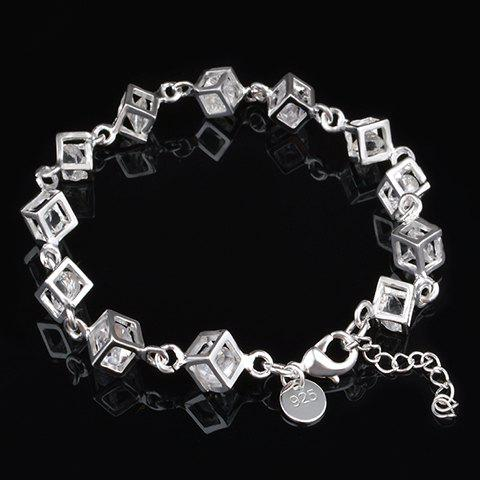 Square Rhinestone Hollow Out Bracelet - SILVER