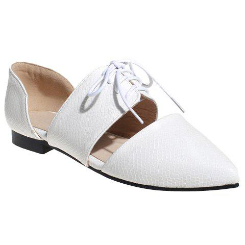 Elegant Lace-Up and Pointed Toe Design Women's Flat Shoes - WHITE 38