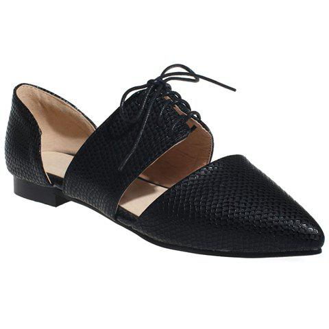 Elegant Lace-Up and Pointed Toe Design Women's Flat Shoes - BLACK 34