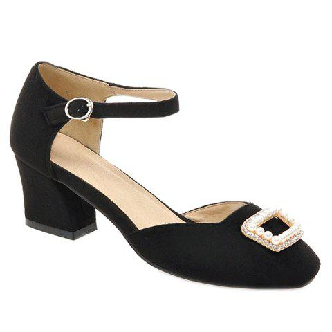 Graceful Beading and Square Toe Design Women's Pumps - BLACK 38