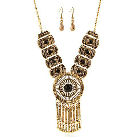 A Suit of Gorgeous Fake Gem Round Water Drop Tassel Necklace and Earrings For Women