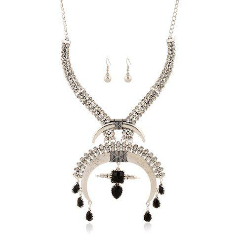 A Suit of Gorgeous Rhinestoned Moon Water Drop Tassel Necklace and Earrings For Women - SILVER/BLACK