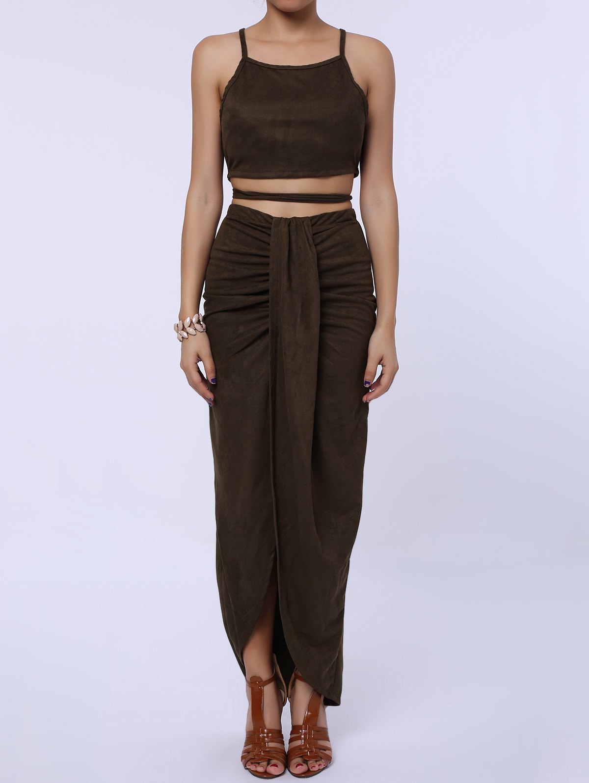 Sexy Spaghetti Strap Tank Top + Asymmetrical High-Waisted Skirt Women's Twinset
