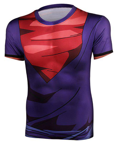 Color Block Tight Round Neck Short Sleeves Men's Dragon Balls T-Shirt - PURPLE S