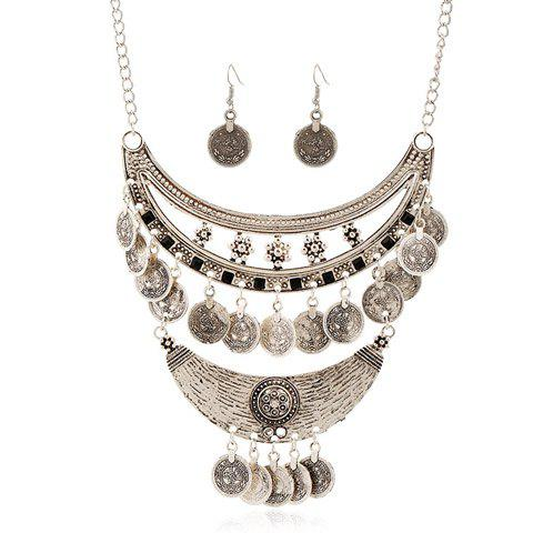 A Suit of Gorgeous Embossed Flower Moon Coin Tassel Necklace and Earrings For Women - SILVER