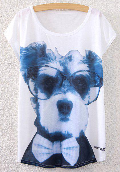 Short Sleeve Dog Print T-Shirt - WHITE ONE SIZE(FIT SIZE XS TO M)