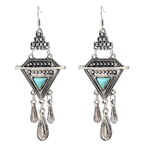 Pair of Water Drop Faux Turquoise Triangle Drop Earrings - SILVER