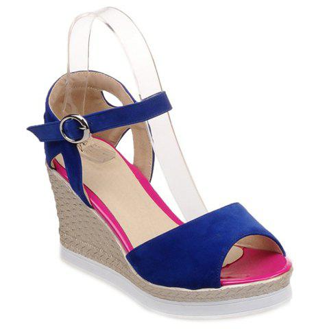 Fashionable Flock and Platform Design Women's Sandals - BLUE 39
