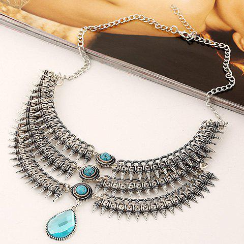 Gorgeous Fake Gem Multilayer Cone Necklace For Women - BLUE